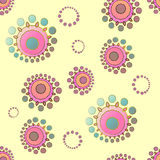 Seamless abstract round blossoms pastel yellow pink violet purple light blue turquoise Royalty Free Stock Images