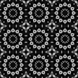 Seamless abstract round blossoms silver gray on black. Abstract geometric seamless background. Regular round blossoms silver gray on black vector illustration