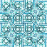 Seamless abstract round blossoms turquoise in squares with white stripes. Geometric seamless intricate background. Regular floral pattern, abstract round stock illustration