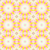 Seamless abstract round blossoms yellow violet pink beige Stock Image