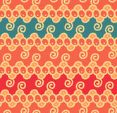 Seamless abstract scroll curl wreath floral ethnic background pattern in vector. Stock Image