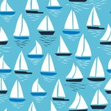 Seamless abstract sea background. Sailboats on blue background. Sea seamless pattern. vector illustration