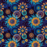 Seamless Abstract Stars And Flowers Pattern Background Stock Photos