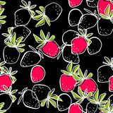 Seamless abstract strawberry modern pattern on black. Background Stock Image