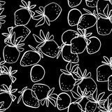 Seamless abstract strawberry modern pattern on black. Background Stock Images
