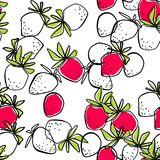Seamless abstract strawberry modern pattern on white. Background Stock Images