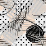 Seamless abstract stripe pattern, polka dot, checkered. Gray, black and beige. vector illustration