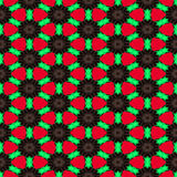 Seamless abstract symmetrical hexagonal structure of black dots connected with red lines on the red background Stock Photos