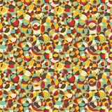 Seamless abstract texture with circles. Vector mosaic illustration in retro colors stock illustration