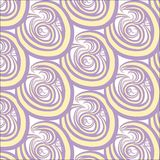 Seamless abstract texture. Purple and yellow circles, swirls on white, hand drawing Stock Photos