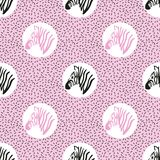 Seamless abstract trendy pattern with zebra heads. vector illustration