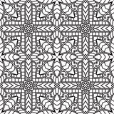 Seamless Abstract Tribal Black-White Pattern In Mono Line Style. Royalty Free Stock Photo