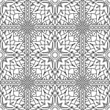 Seamless Abstract Tribal Black-White Pattern In Mono Line Style. Stock Photo