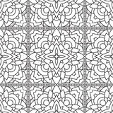 Seamless Abstract Tribal Black-White Pattern In Mono Line Style. Stock Photography