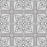Seamless Abstract Tribal Black-White Pattern In Mono Line Style. Stock Image