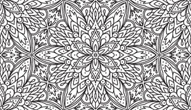 Seamless Abstract Tribal Black-White Pattern In Mono Line Style. Royalty Free Stock Image