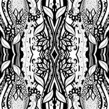 Seamless Abstract Tribal Pattern (Vector). Hand Drawn Ethnic Texture, Flight of Imagination Stock Photo