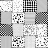 Seamless black and white pattern of textile shreds. Seamless abstract vector black and white pattern of textile shreds with different ornaments. Spot, plaid stock illustration
