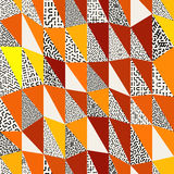 Seamless abstract vector collage of retro triangle quilt patterns in black, white, orange and yellow Stock Photography