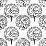 Seamless abstract vector pattern with black trees Royalty Free Stock Image