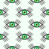 Seamless abstract vector pattern, bright symmetrical background with close-up green eyes over light backdrop Stock Images