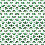 Seamless abstract vector pattern, bright symmetrical background with green eyes over light backdrop Royalty Free Stock Images