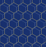 Seamless Abstract Vector Pattern With Hexagons. Geometric blue and golden abstract vector hexagonal background. Geometric modern ornament. Seamless modern Stock Image