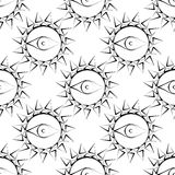 Seamless abstract vector pattern with sun with eyes. Symmetrical black and white background Royalty Free Stock Images