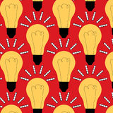 Seamless abstract vector repeating pattern with idea bulbs with film strips. On red background Royalty Free Stock Images