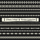 Seamless abstract vector Tribal border collection in monochrome Royalty Free Stock Image