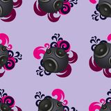Seamless abstract vintage music background with round speakers. Seamless pattern for fabric. EPS10 vector stock illustration