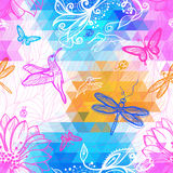 Seamless abstract wallpaper geometric pattern of triangles. Flowers, butterflies, birds, dragonflies and beetles. Work of authorship mix of geometry and graphics stock illustration