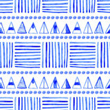 Seamless abstract watercolor pattern, hand drawn geometric background Stock Images