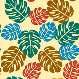 Seamless abstractS Tropical Pattern. Abstract Seamless pattern Seamless Tropical Pattern with Monstera leaves colorful  background Royalty Free Stock Images