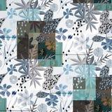 seamless abstrakt blom- modell gråa blåa blommor, sidor på vit bakgrund royaltyfri fotografi