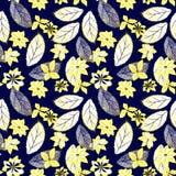 seamless abstrakt blom- modell Guling blommar, sidor på mörker - blå bakgrund Fotografering för Bildbyråer