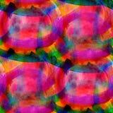 Seamless abstrakt vattenfärg för röd gräsplanguling Arkivfoto