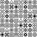 Seamless African Adinkra pattern. Hand stamp printing. National ritual black and white symbols stock illustration