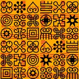 Seamless African Adinkra pattern. Hand stamp printing. National ritual black and white symbols vector illustration