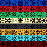 Seamless African Adinkra pattern. Hand stamp printing. National ritual black and white symbols royalty free illustration