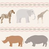 Seamless african animals pattern Royalty Free Stock Photos