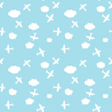 Seamless Airplane And Cloud Pattern Stock Photos