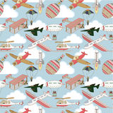 Seamless airplane pattern. Vector drawing Stock Photos