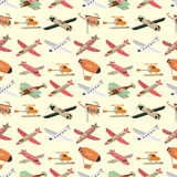 Seamless airplane pattern. Vector drawing Stock Photography