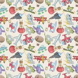 Seamless airplane pattern. Vector drawing Royalty Free Stock Images