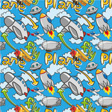 Seamless airplane pattern. Vector drawing Stock Images