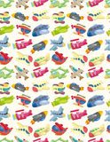 Seamless airplane pattern. Drawing Royalty Free Stock Photos