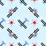 Seamless airplane pattern in constructivism soviet style. Vector vintage 20s geometric ornament.  Stock Photography