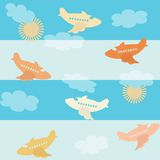 Seamless airplane pattern Stock Photos