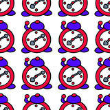 Seamless Alarm Clock Pattern Stock Images